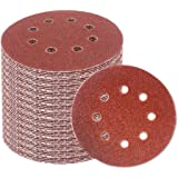 Beauenty for 60 Pieces 5 Inch 8-Hole Hook and Loop Sanding Discs Sandpaper Assorted60/80/120/180/240/320 Grits For Power…
