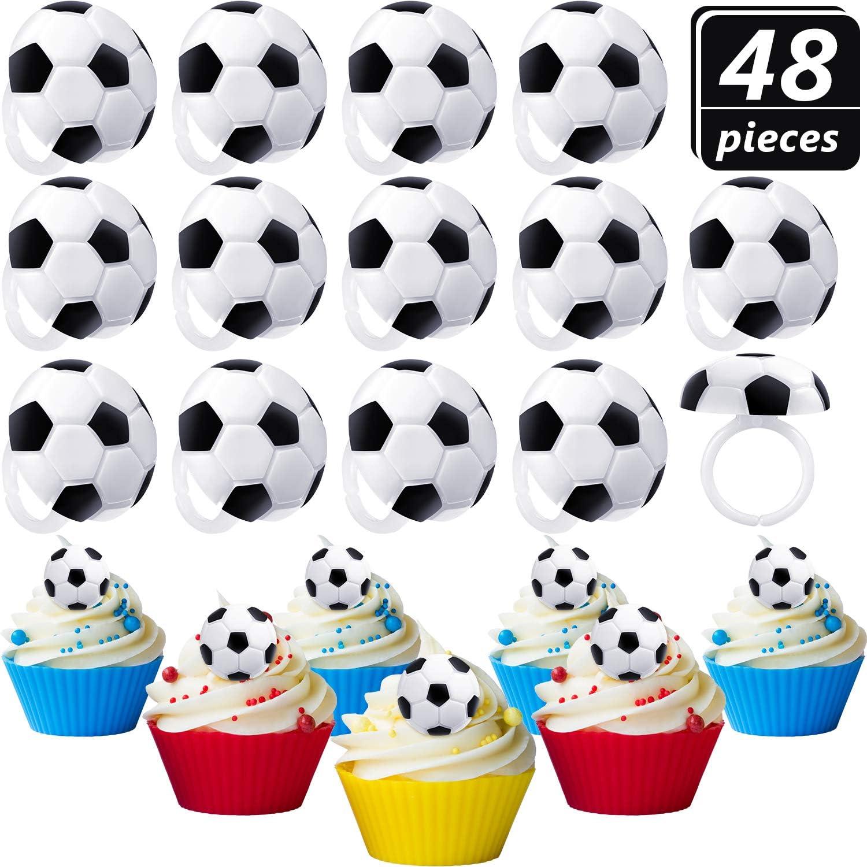 Amazon.com: Blulu - 48 anillos de fútbol para cupcakes ...