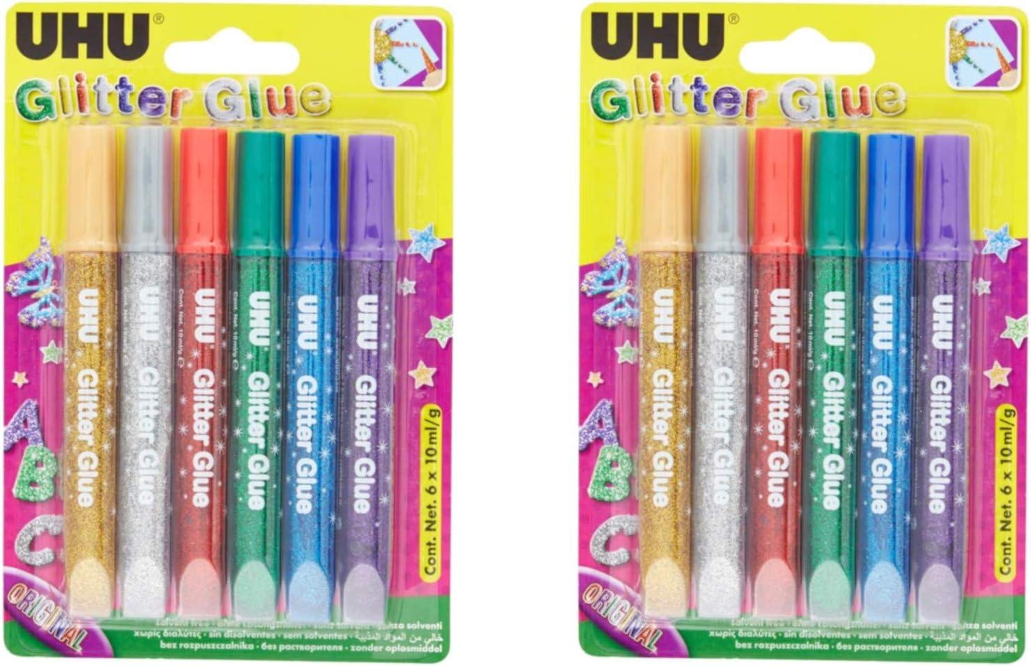 3 Farben sortiert | 2 Packungen UHU Glitter Glue 6 x 10 ml Glitzerkleber zum Basteln in Tube mit feiner Dosierspitze
