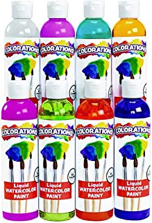product image for Colorations PLWS Liquid Watercolor Paint, 8 fl oz, Set of 8, Non-Toxic, Painting, Kids, Craft, Hobby, Fun, Water Color, Posters, Cool Effects, Versatile, Gift