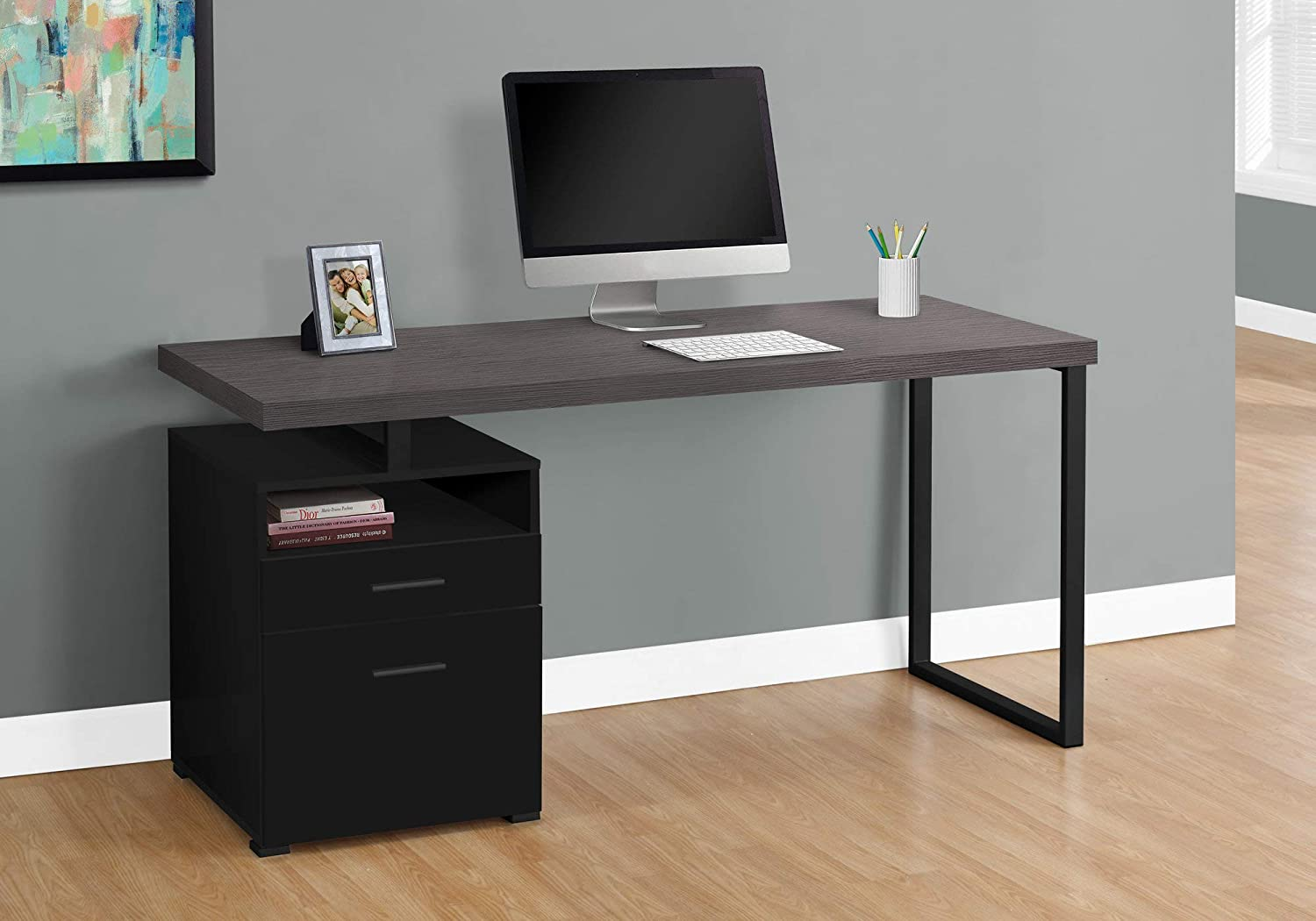 """Monarch Specialties 7436 Computer Writing Desk for Home & Office Laptop Table with Drawers Open Shelf and File Cabinet-Left or Right Set Up, 60"""" L, Black-Grey Top"""