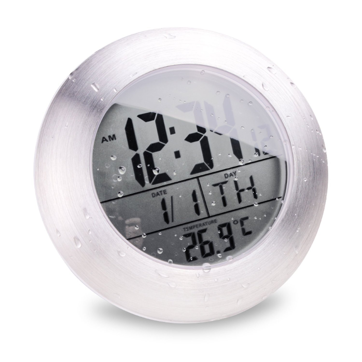 Emate Water Resistant LCD Bathroom Shower Clock Displays Time Date Week and Temperature with 4 Suction Cups Atomic Clock, Hanging Hole and Table Stand (Aluminum Finish)