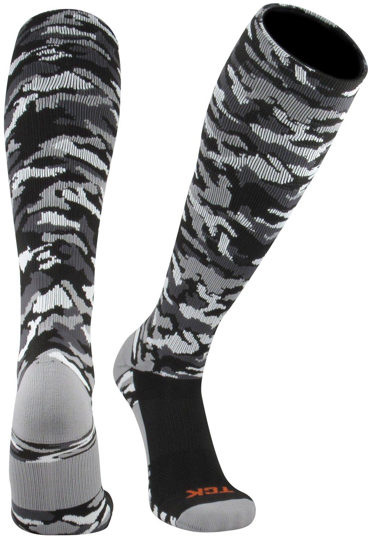 TCK Sports Elite Performance Over The Calf Camo Socks (Black Camo, Medium)