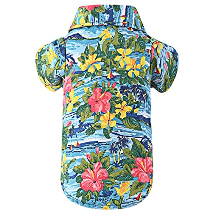 fa95190b0633 EXPAWLORER Dog Print Polo Shirt - Summer Hawaii Style with Flowers for Pet  Puppy