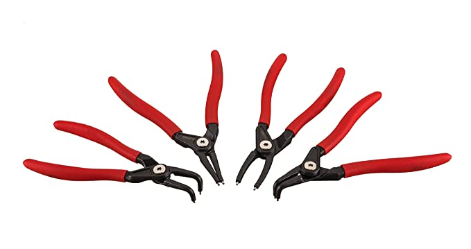 ARES 71209 | 4-Piece 7-inch Internal and External Snap Ring Plier Set | Bearing Steel Spikes with Non-Slip Angle | Premium Storage Pouch Included ...