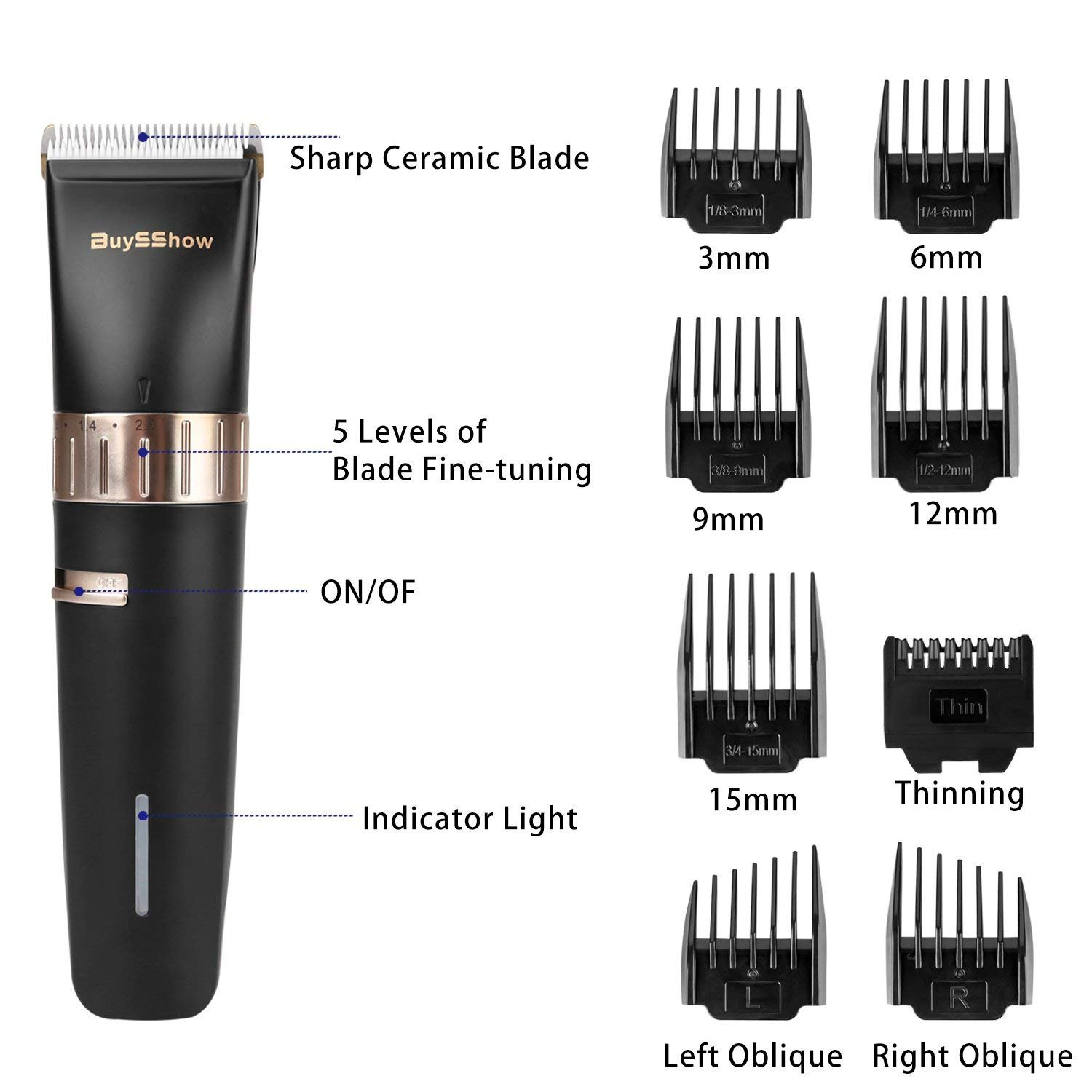 Quiet Professional Hair Clippers Set, Cordless Rechargeable Hair Clippers for Men