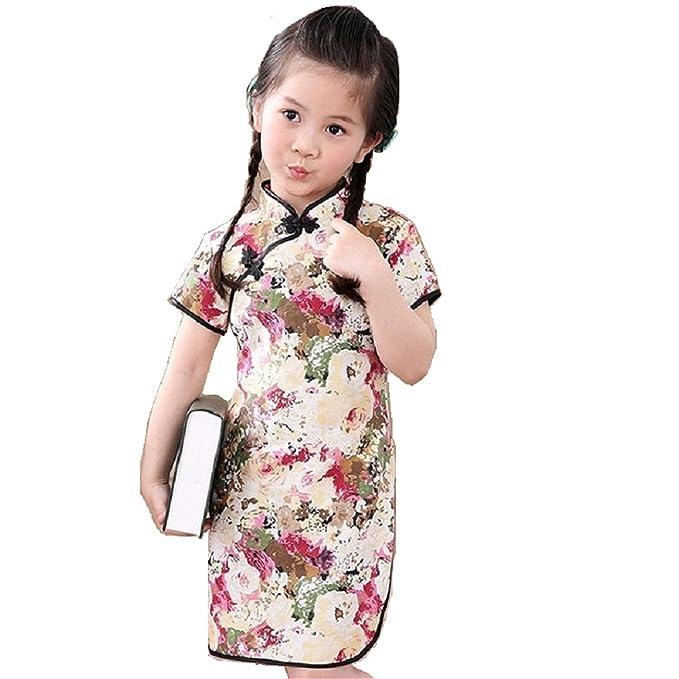 Reveryml Niña Vestidos Vestido de Qipao de Las Muchachas Chinas Vestidos de los niños de la