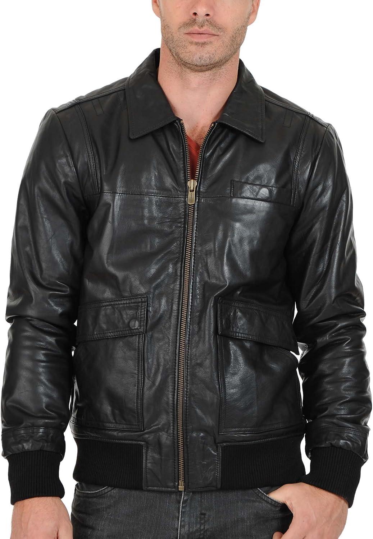 Mens Genuine Cow Leather Jacket Slim fit Biker Motorcycle Jacket LFC110 XL