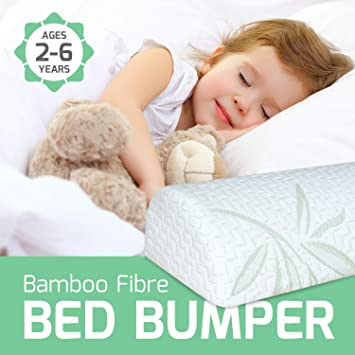 Foam Safety Rails Little Sleepy Head Bed Bumper for Toddlers Stay-Put Cover 2Pk
