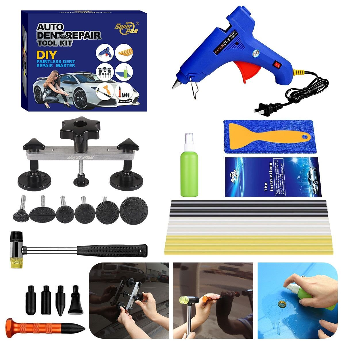 Fly5D 17Pcs Auto Body Paintless Dent Removal Tools Kit Pops a Dent Bridge Puller Kits with Tap Down Tools