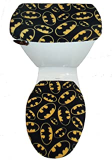 Superbe BATMAN LOGO Fleece Fabric Toilet Seat Cover Set Batman Signal