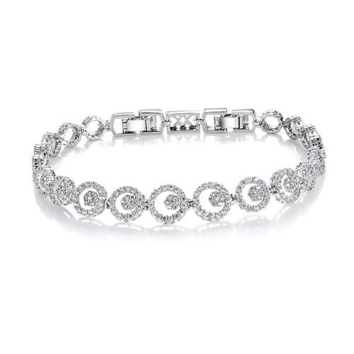 4c234bf0 Comtex Pulseras Mujer Plata con Circonitas Pulsera Cristal Diamantes ...