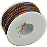 Electronics-Salon 8 Colors 30AWG Insulation Test Wrapping Wire, Tinned Copper Solid Cable.