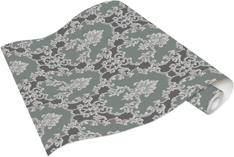 Vinyle Papier peint ornement textile gris foncé bleu métallisé Erismann Palais Royal 6376