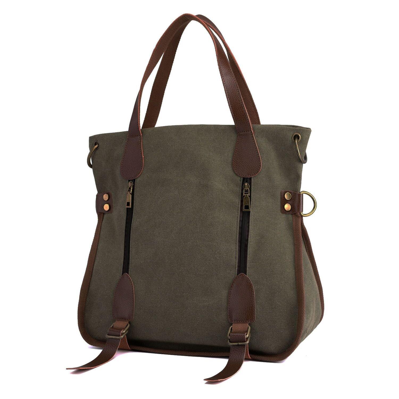 Women's Canvas Tote Bag Top Handle Bags Crossbody Messenger Bag Shoulder Handbag (Green)