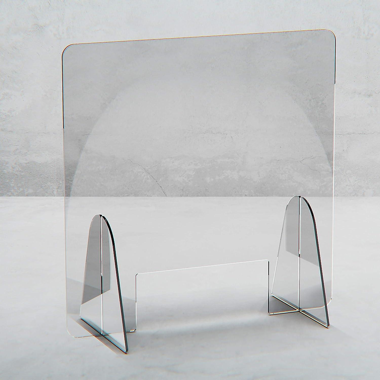 80 x 60 cm 7M Spuckschutz Thekenaufsatz mit Durchreiche Hustenschutz Niesschutz Spritzschutz Virenschutz Tischaufsatz Tresenaufsatz Antibakteriell Transparent Acrylglas 5mm B x H