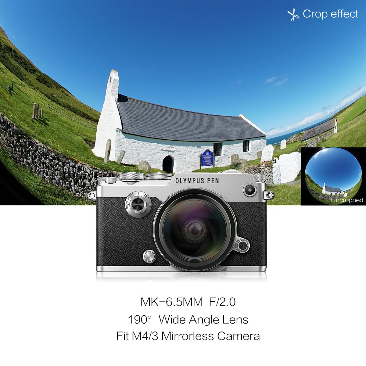 Meike 6.5mm f//2.0 Ultra Wide Manual Focus Large Aperture Circular Fisheye Lens for Olypums Panasonic Lumix MFT Micro 4//3 Mount Mirrorless Cameras