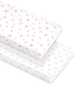 Cambria Baby 100% Organic Cotton Changing Pad Covers or Cradle Sheets with Reinforced Safety Strap Holes. Soft, Pre-Shrunk and Machine Washable. in Pink and White Patterns for Girls.2 Pack