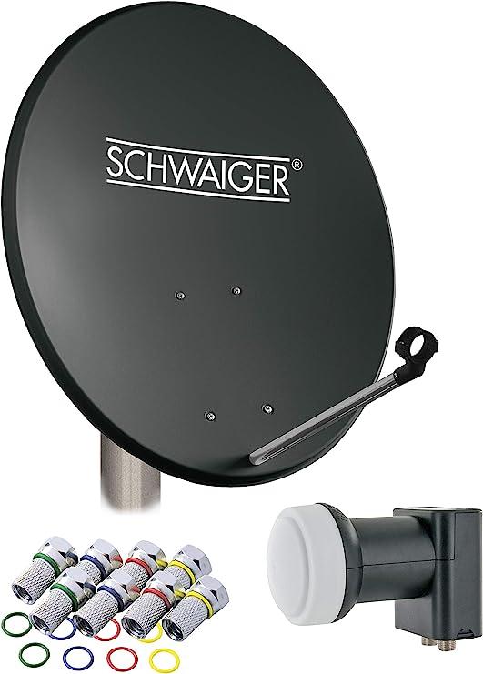 SCHWAIGER -487- Sistema de satélites | antena satelital con LNB doble (digital) y 8 conectores F de 7 mm | antena satelital de acero | antracita | 55 ...