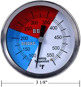 "GasSaf 3"" 550F BBQ Charcoal Grill Pit Smoker Temp Gauge Grill Thermometer with 3"" Stainless Steel Stem RWB"