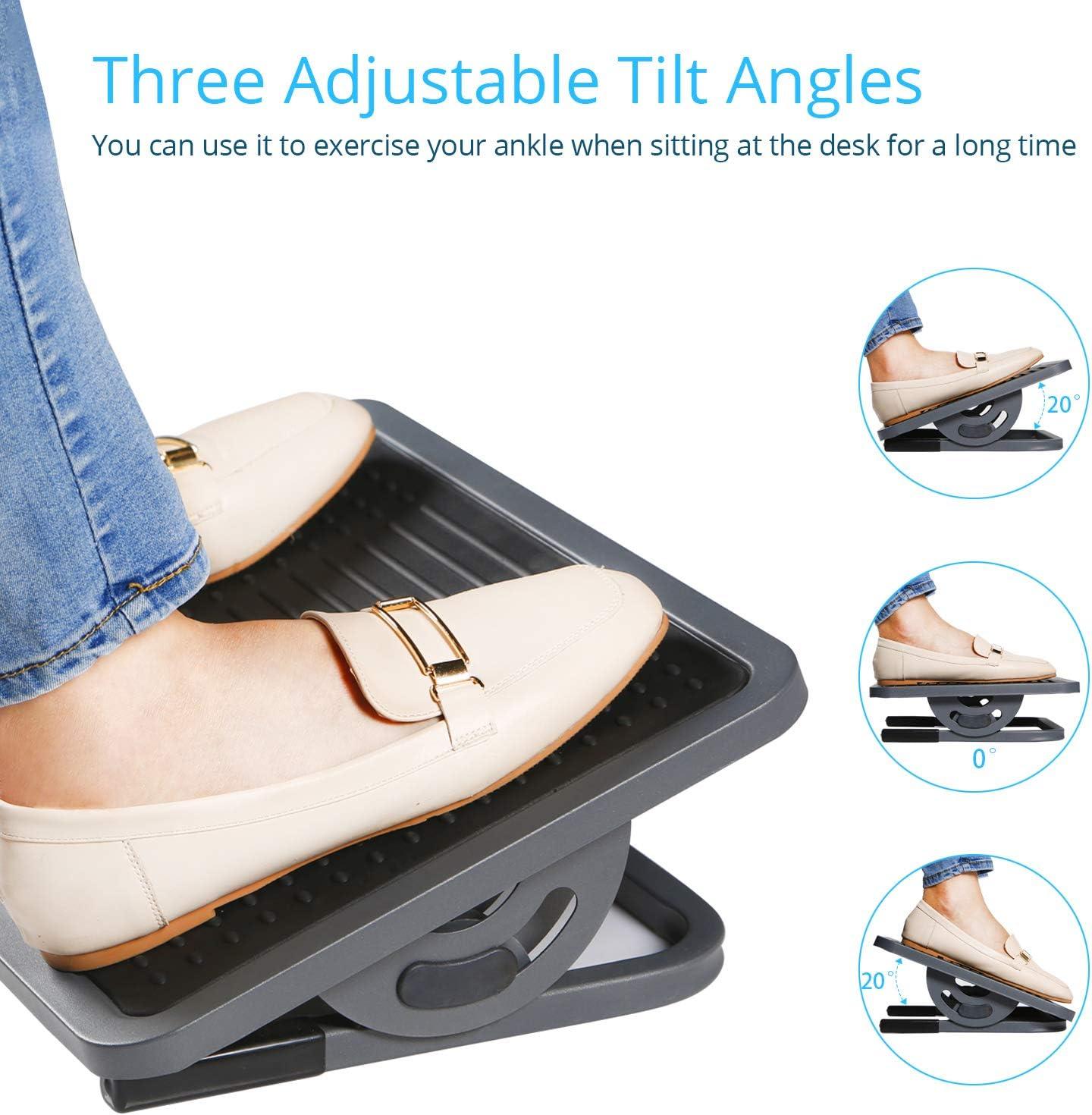 DESIGNA Adjustable Under Desk Footrest with Massage Surface, Ergonomic Foot Rest Tilt Angle Adjustment for Home Office, Metal, Black & Gray : Office Products
