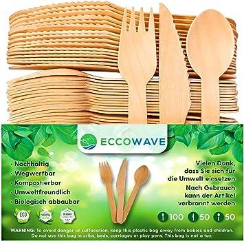 EccoWave - Paquete de 200 Cubiertos de madera Desechables ...