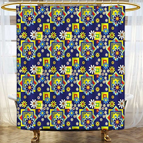 AmaPark Waterproof Mold Resistant Polyester Shower Curtain Flower Daisy Blooms and Mix SquaresPrint Royal Blue Yellow Red Waterproof and Mildewproof Polyester Fabric 54 x 78 inches - Savona Iron