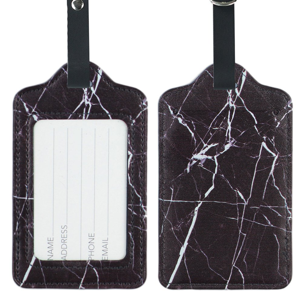 Lizimandu PU Leather Luggage Tags Suitcase Labels Bag Travel Accessories - Set of 2(Marble_Black)