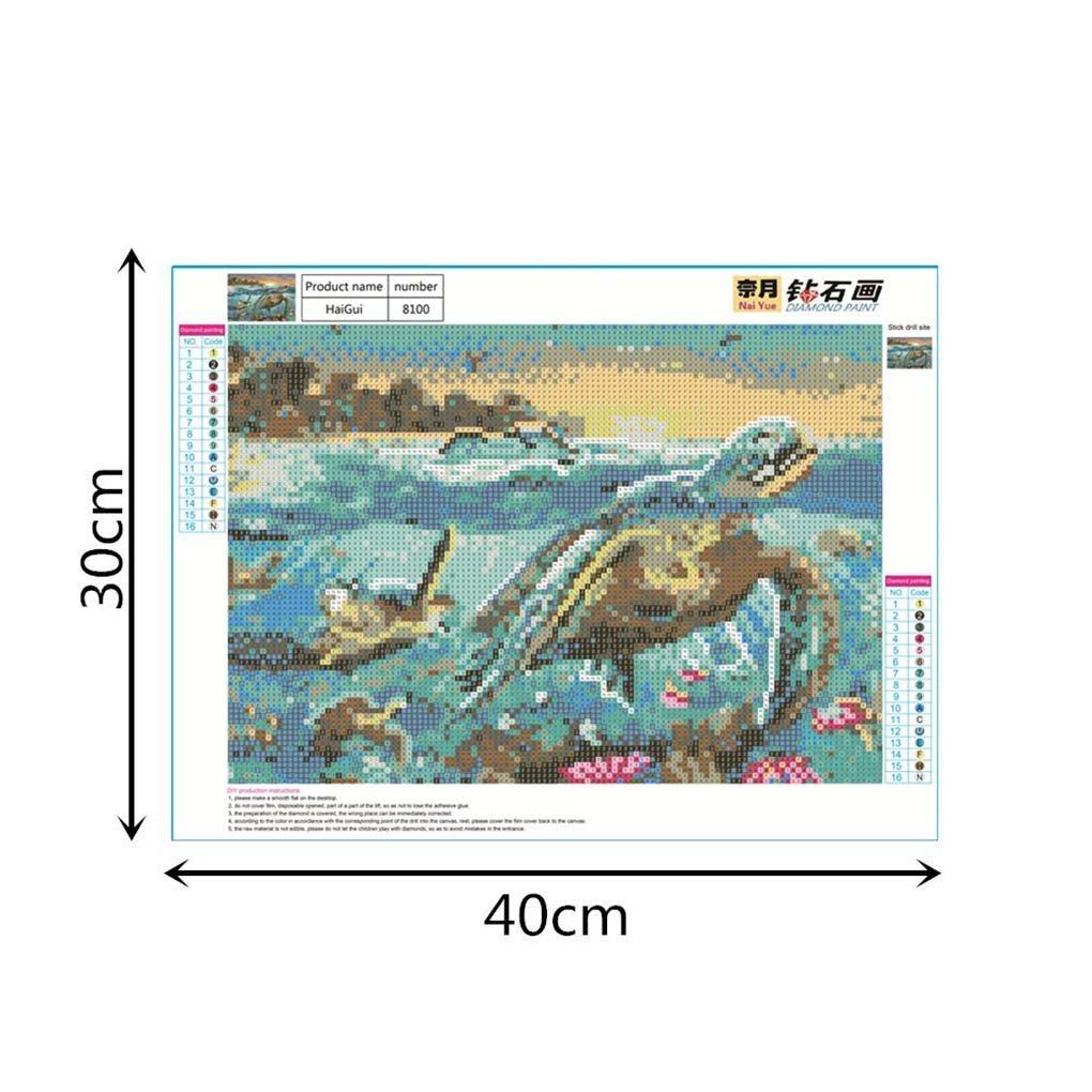 Level 40x30cm Sea Turtle Muster K/üche Printed 5D Strass Paintings Platz DIY Kreuzstich von Diamant-Zeichnungen