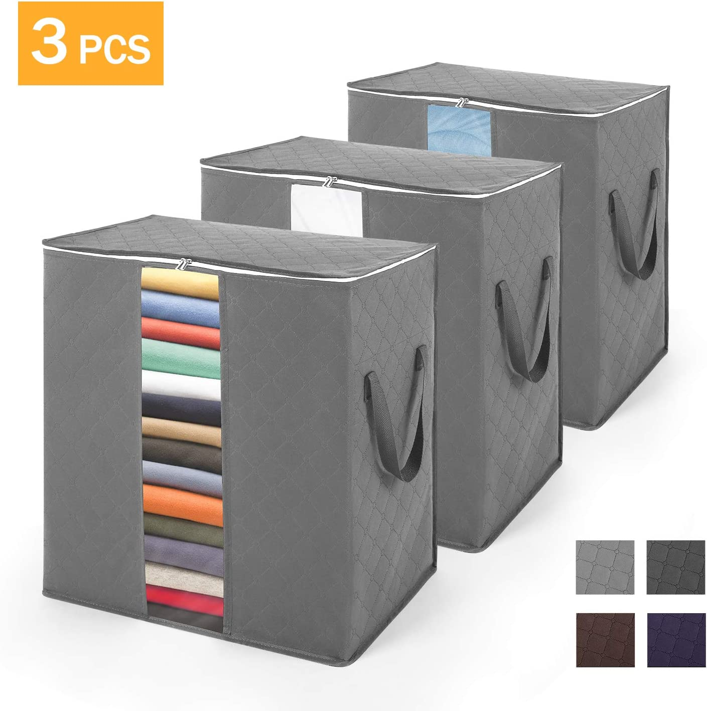 Grey Pack of 3 Perfect for Clothes Large Transparent Window and Reinforced Handle SOLEDI Storage Bag Blankets Grey Closets