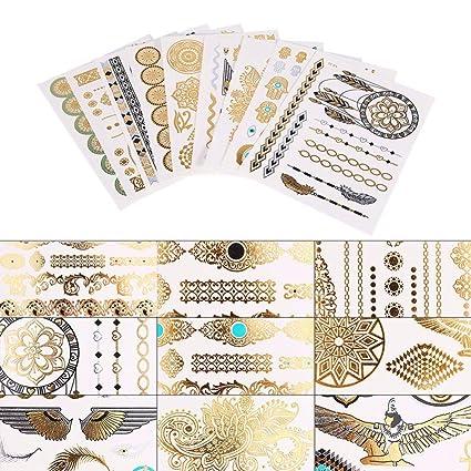 9 Hojas de tatuajes temporales impermeables dorados tribales ...