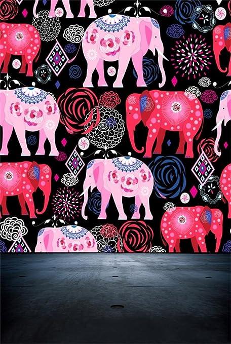 AOFOTO 4x6ft Painted Colorful Elephants Backdrop Ethnic Style Photography Background Kid Baby Girl Child Infant Artistic