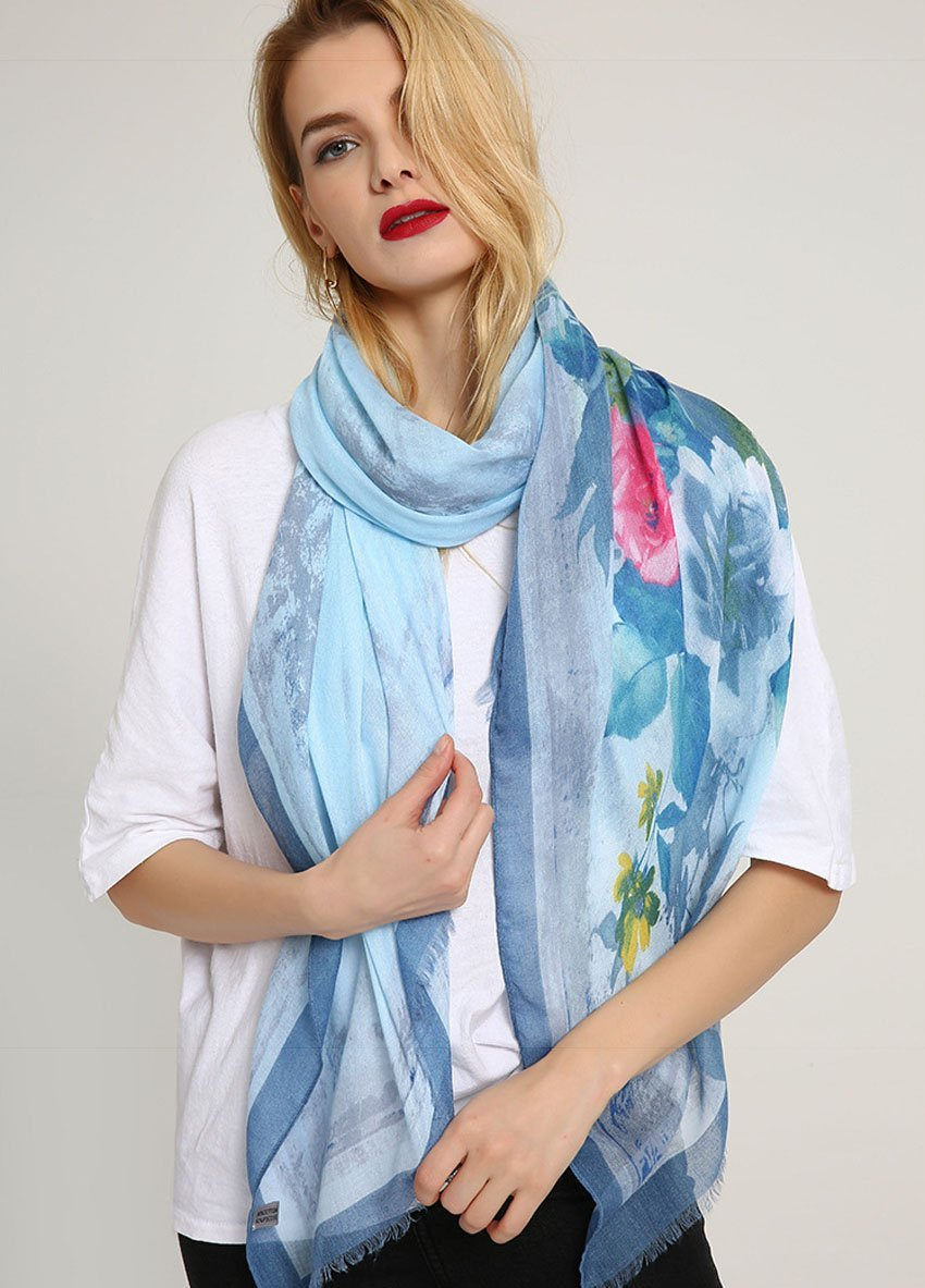 GERINLY Summer Scarfs Rosa Chinensis Print Beach Wrap Womens Travel Shawls (AzureBlue) by GERINLY (Image #3)