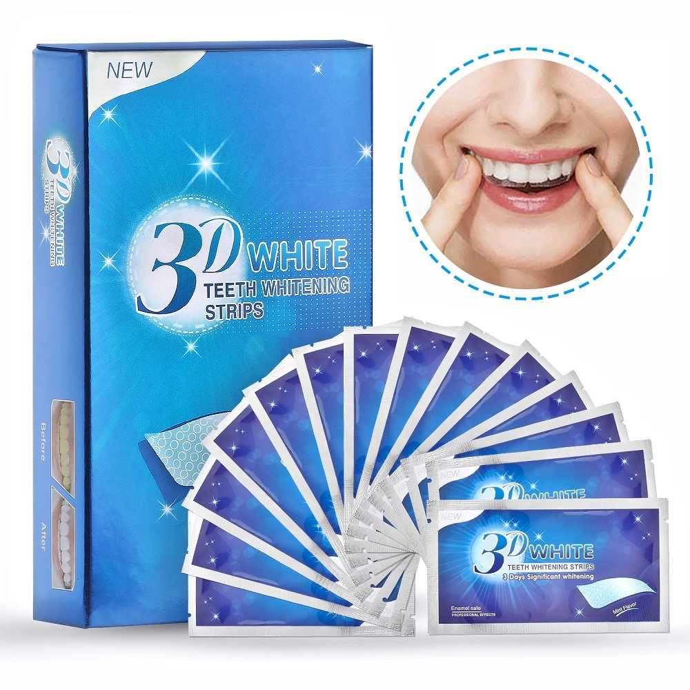 Teeth Whitening Strips, Herwiss 3D White Whitestrips with Mint Flavor for Gum Health and Refresh Breath, Dental Whitener Kit Elastic Gels for Teeth Stain Removal - 28pcs 14 Treatments for Teeth Care