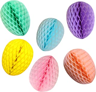 product image for 6-Pack Assorted Color 9 Inch Honeycomb Paper Easter Egg Party Decoration (Bright Pastel)