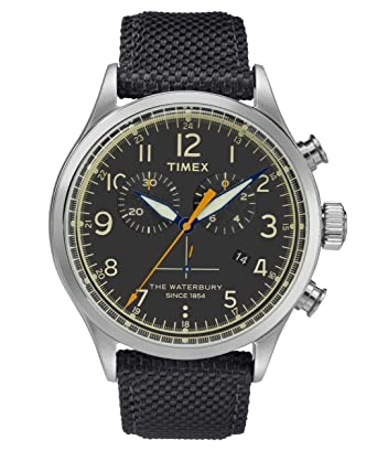 1981b4274 Image Unavailable. Image not available for. Color: TIMEX - Waterbury  Traditional Chronograph Men Leather Black Watch ...