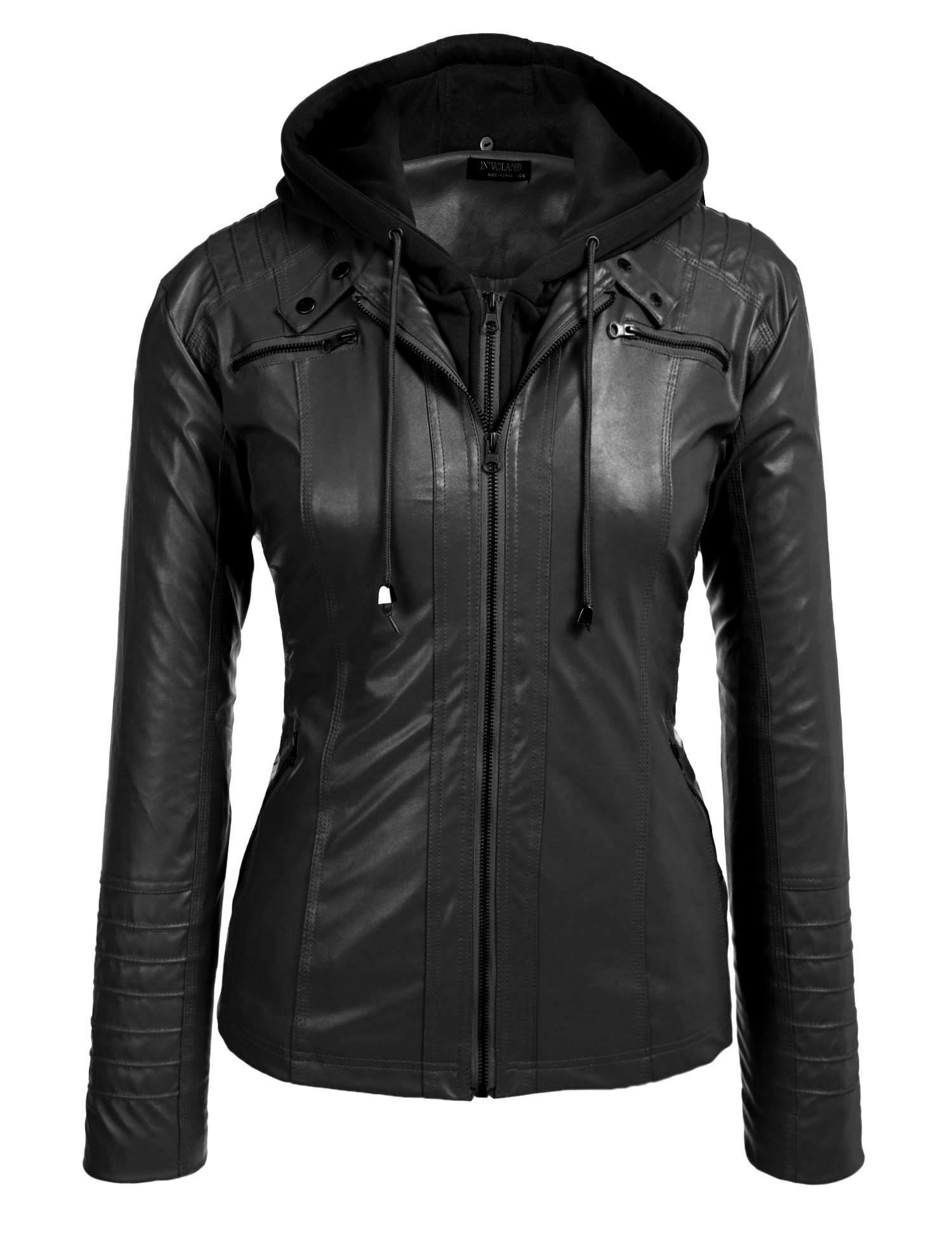 Involand Womens Plus Size Faux Leather Moto Biker Zip Up Hoodie Jacket, Black 1, 18 Plus