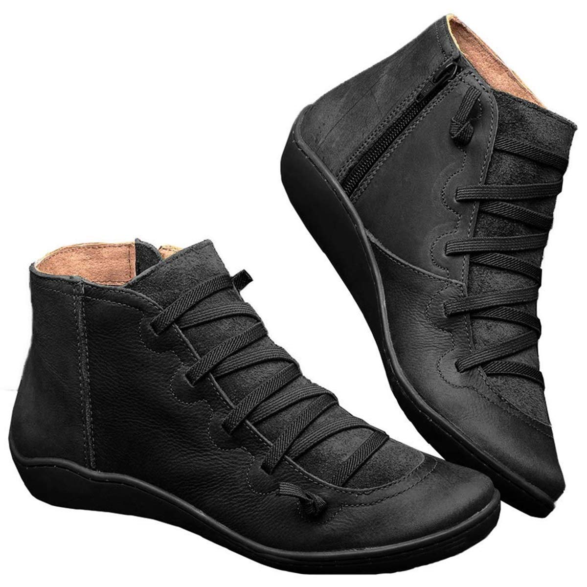 GD0001 New Arch Support Boots- Women's Leather Casual Shoes Side Zipper Ankle Booties by GD0001
