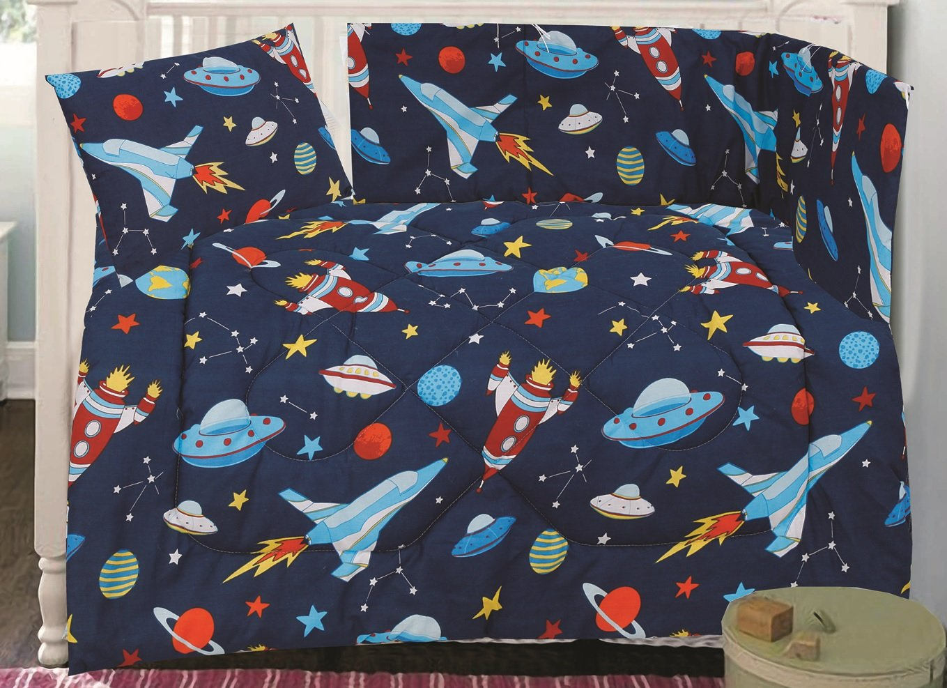 Love2Sleep COTTON RICH 3 PIECE COT QUILT, PILLOW & BUMPER SET - IDEAL FOR NURSERY BEDDING - BLAST OFF