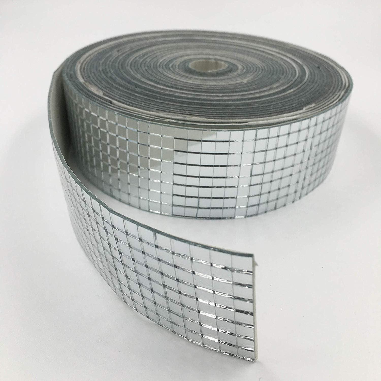 1 rollo de azulejos de mosaico autoadhesivos 4 x 100 cm azulejos de mosaico espejos de vidrio cuadrados espejo para decoraci/ón de manualidades