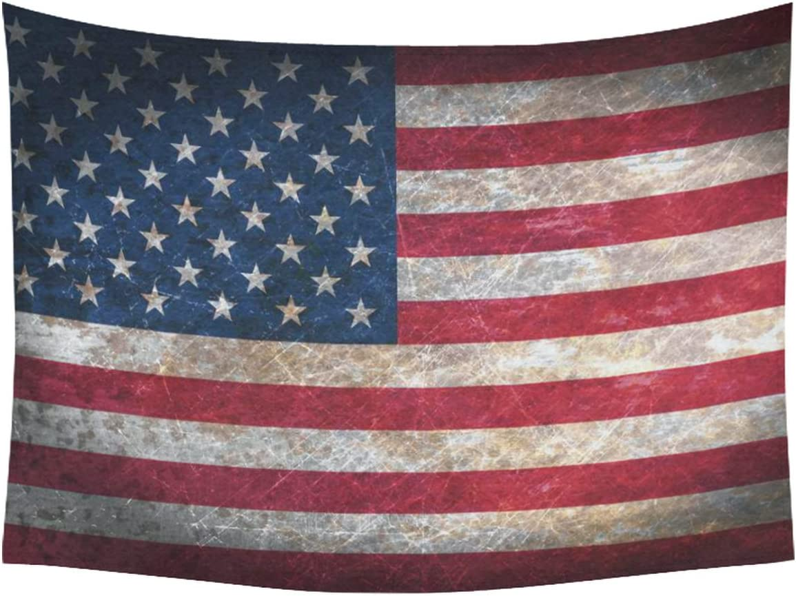 INTERESTPRINT Vintage Retro Style US Flag Wall Art Home Decor, Stars and Stripes American Flag Bule Red Tapestry Wall Hanging Art Sets 80 X 60 Inches