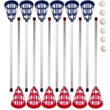 Champion Sports Soft Lacrosse Set: Training Equipment for Boys, Girls, Kids, Youth and Amateur Athletes - 12 Aluminum Sticks and 6 Vinyl Balls for Indoor Outdoor Use