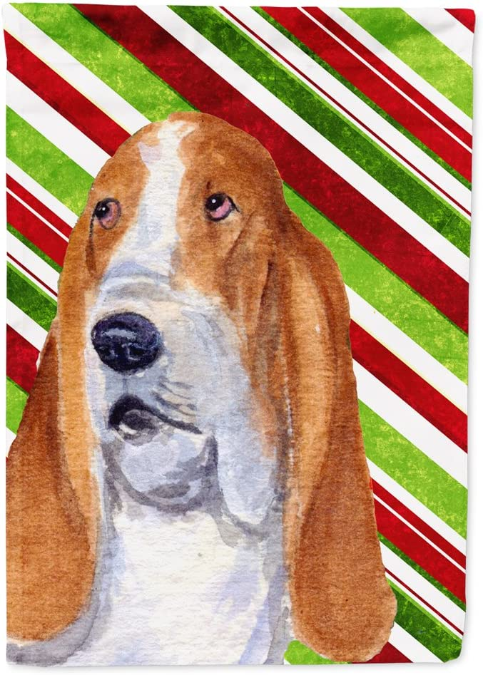 Caroline's Treasures SS4597GF Basset Hound Candy Cane Holiday Christmas Flag Garden Size, Small, Multicolor