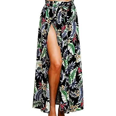 d958fabba3 Holywin Jupe Femme Feuille de Plage Imprimer Vacances été Jupe Longue  Taille Haute
