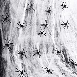 300 sqft Fake Halloween Spider Web with 20 Plastic Spooky Fake Spiders Halloween Props Decoration for Indoor and Outdoor Stretch Party Supplies Wall Decor Cobweb