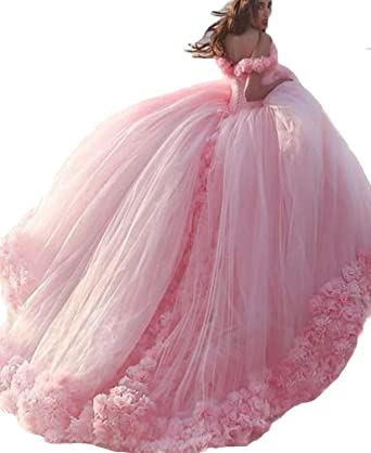 BONBETE Heavy Handmade Flowers Ball Gown Pink Quinceanera Dresses Prom Gown