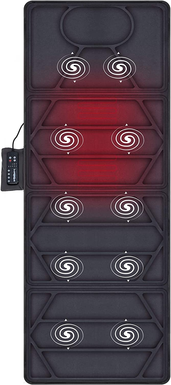 Snailax Colchón de masaje calefactado - 10 motores Cojín de colchón de masaje vibrante con 2 almohadillas térmicas para todo el cuerpo, masaje con calor, relajación muscular SL391S