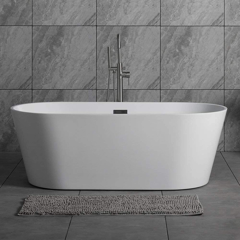 Woodbridge 59 Acrylic Freestanding Bathtub Contemporary Soaking Tub With Brushed Nickel Overflow And Drain B 0014 Bta1514
