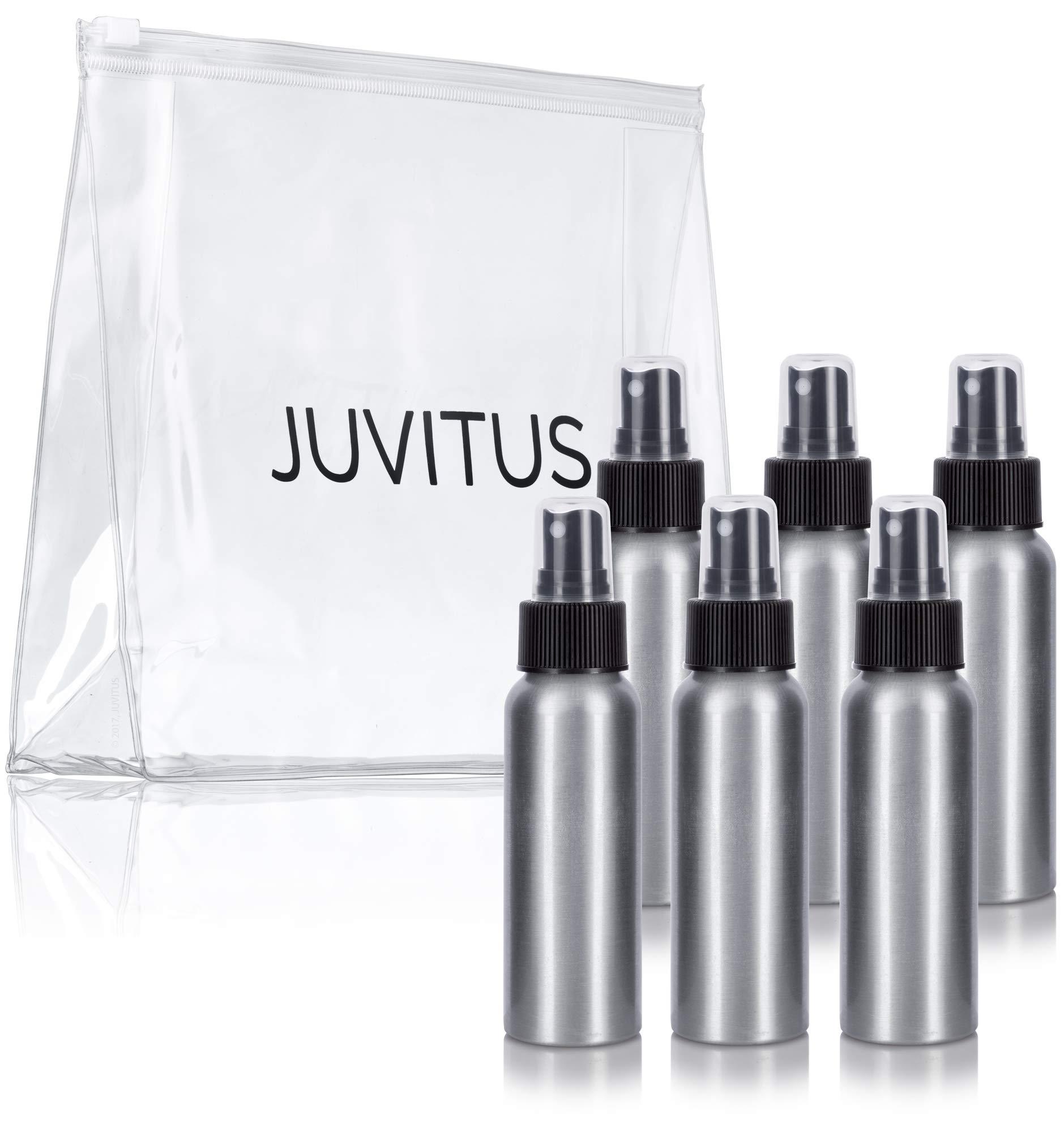 Aluminum Refillable Travel Spray Bottle Mister - 2.7 oz (6 Pack) + Travel Bag by JUVITUS