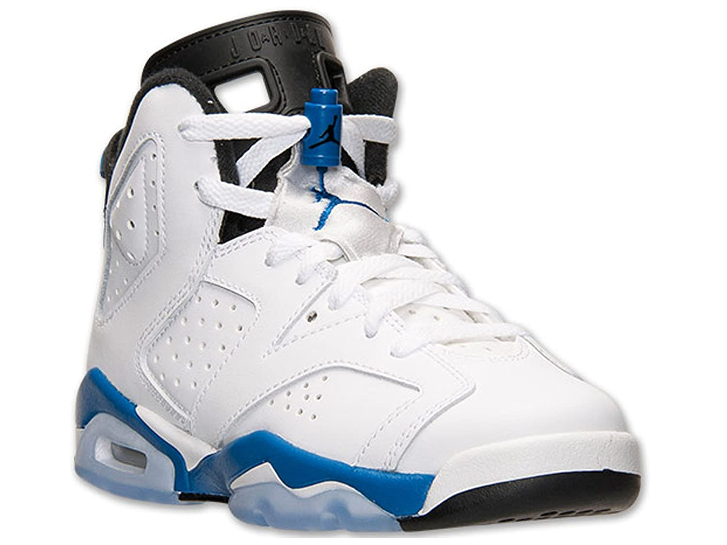 buy popular a4a4c 0b7b1 Amazon.com  Air Jordan 6 Vi Retro Grade School Boy Basketball Sneakers White  Black Sport Blue 384665-107 (Size  5Y)  Sports   Outdoors